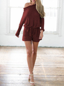 Dark Red Long Sleeve Lace Up Romper Comfy Winter Playsuit