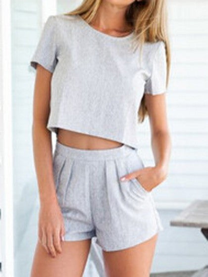 Grey Crop Top with High Waist Shorts