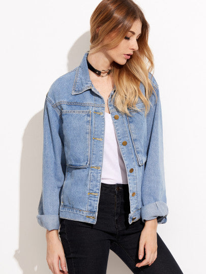Denim Jacket Stonewash Blue with Pockets