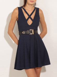 Criss Cross Skater Dress in Royal Blue