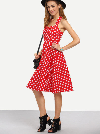 Red Polka Dot Halter Neck Dress