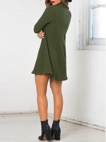 Navy Green Casual Shift Dress