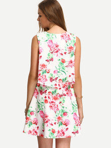 Sleeveless White Summer Flower Print Dress
