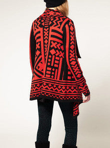 Geometric Print Red Cardigan Perfect Vintage Addition to any Outfit