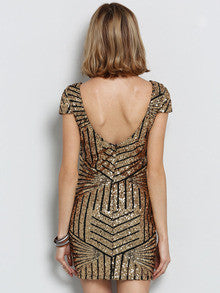 Gold Sequins Party Dress Perfect New Years Dress