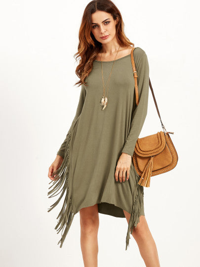 Green Long Sleeve Fall Fringe Dress