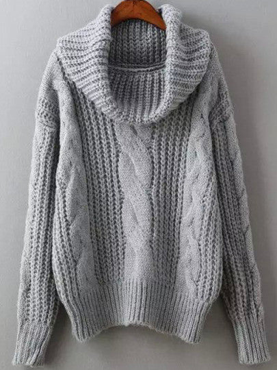 690924aa83b Grey Cowl Neck Winter Sweater Trendy Cable Knit Sweater – Lyfie