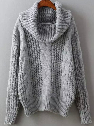 467a63d48192 Grey Cowl Neck Winter Sweater Trendy Cable Knit Sweater
