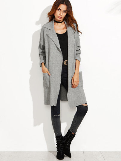 Grey Sweater Coat with Pockets and Drop Shoulder