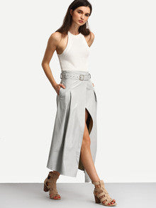 24c0012f61 Grey Belted High Waist Split Skirt