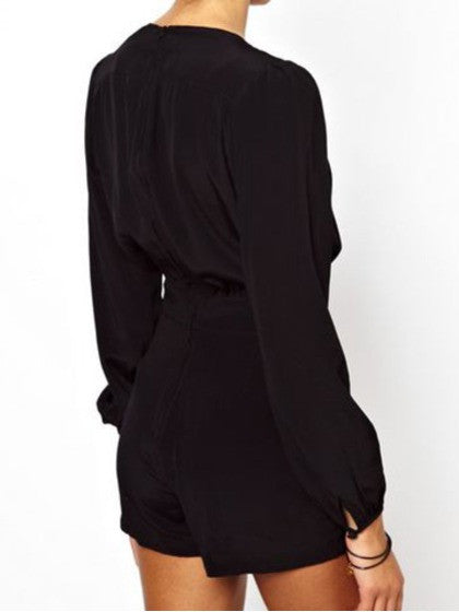 0ba5e9f2d3 Playsuit Black Sexy V Neck with Long Sleeves – Lyfie