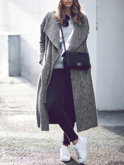 Long Grey Lapel Winter Coat with Pockets