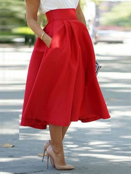 4307f705c29fcc Red High Waist Chic Midi Skirt with Pockets – Lyfie