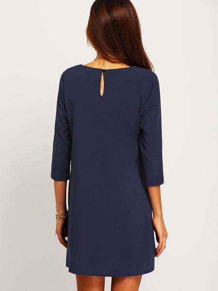 Navy Shift Dress with Half Sleeves and Pockets