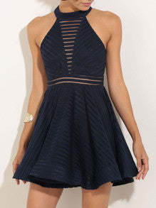 Dark Navy Dress Hollow Flare Dress
