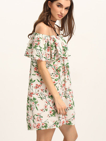 Ruffled Off The Shoulder Flower Print Dress