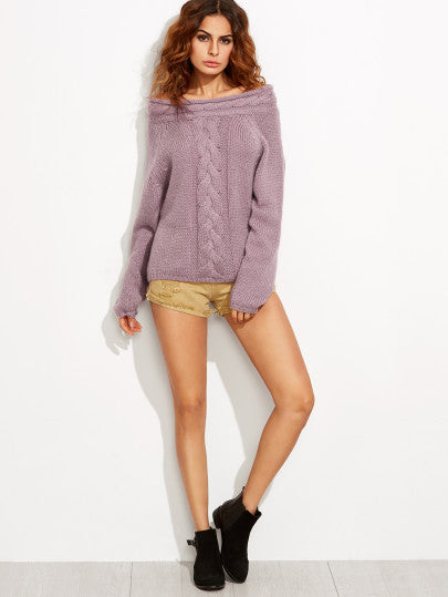 Off the Shoulder Purple Cable Knit Sweater