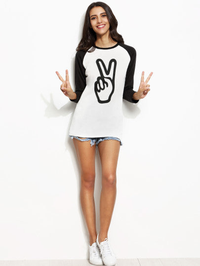 Peace Sign Black and White Three Quarter Sleeve Shirt