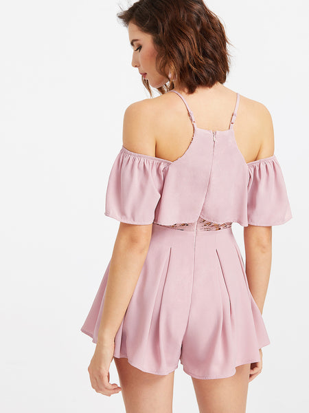 Pink Romper with Lace Trim and Cold Shoulder Design