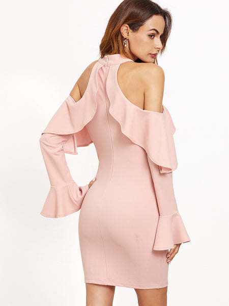 Pink Ruffle Dress with Cold Shoulder