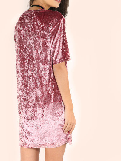 Pink Velvet T Shirt Dress Holiday Party Dress