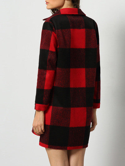 Long Plaid Pocket Shirt Coat Red and Black Comfy Coat with Collar