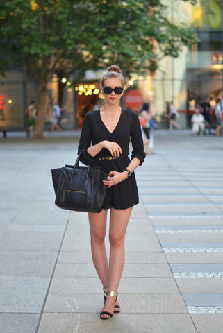 Playsuit in Black with Long Sleeves