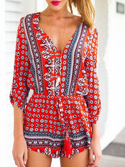 Boho Style V Neck Playsuit