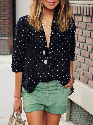 Polka Dot Black and White Blouse