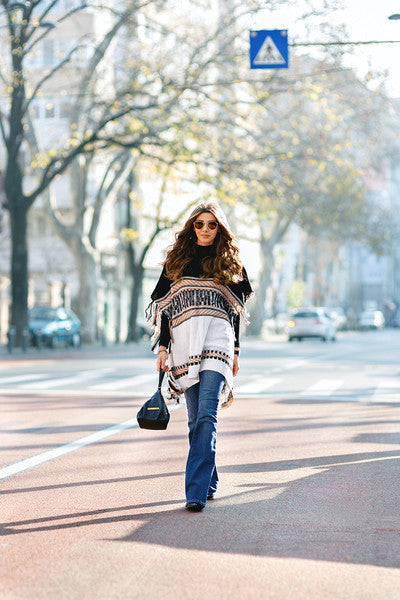 Poncho Turtleneck Tassel Color Block Sweater