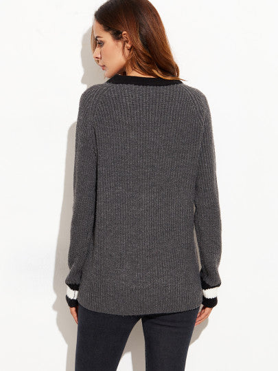 Preppy Deep V Neck Grey Sweater