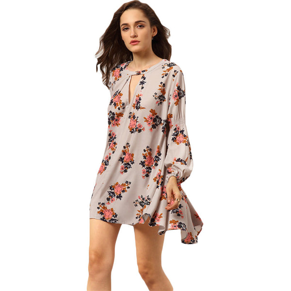 ♡ Floral Printed Mini Long Sleeve Chiffon Dress ♡