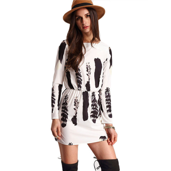 ♡  Tunic White and Black Long Sleeve Patchwork Dress