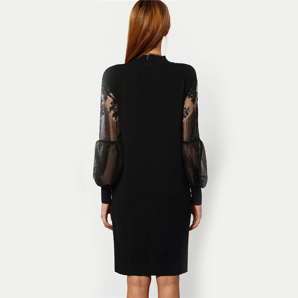♡ High Low Solid Black  Sheer Mesh Long Sleeve Dress ♡