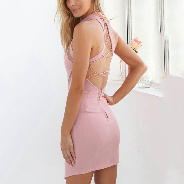 Sexy Pink Halter Neck Off Shoulder Bodycon Dress