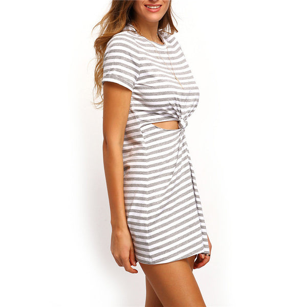 ♡ Grey and White Short Sleeve Round Neck Striped Cut-out Knotted T-shirt Dress ♡