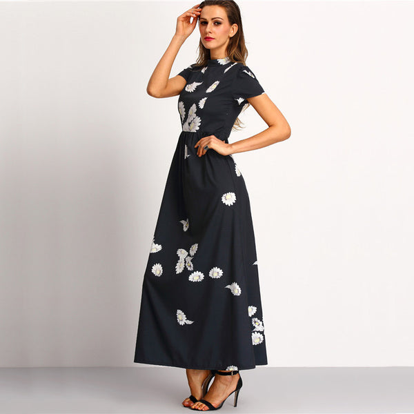 85cf968b2c33d Black High Neck Short Sleeve Flower Print Chiffon Elegant Maxi Dress ♡