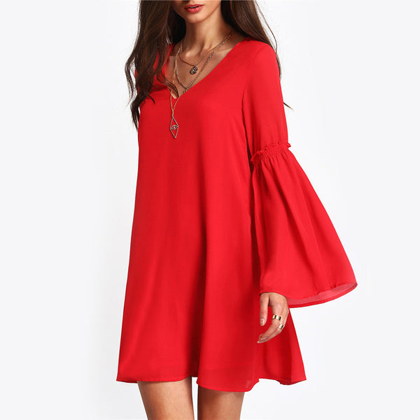 ♡ Casual Red Sundress Sheer V Neck  Loose  Dress ♡