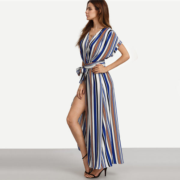 ♡ Summer Elegant Long Dresses Multicolor Striped Split Maxi Dress ♡