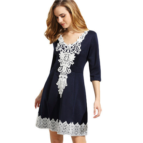 ♡ Navy V Neck Half Sleeve Crochet Pleated A Line Dress ♡