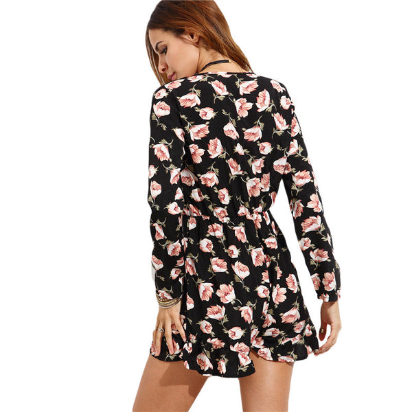 ♡ Multicolor Deep V Neck Long Sleeve Flower Print Knotted Ruffle Hem Romper ♡
