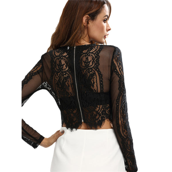 ♡ Sexy Lace Long Sleeve Round Neck Hollow See-through Crop Blouse ♡