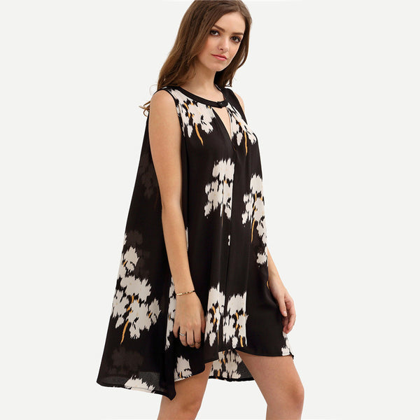 ♡ Black Round Neck Sleeveless Floral Hollow Out Loose Shift Dress ♡