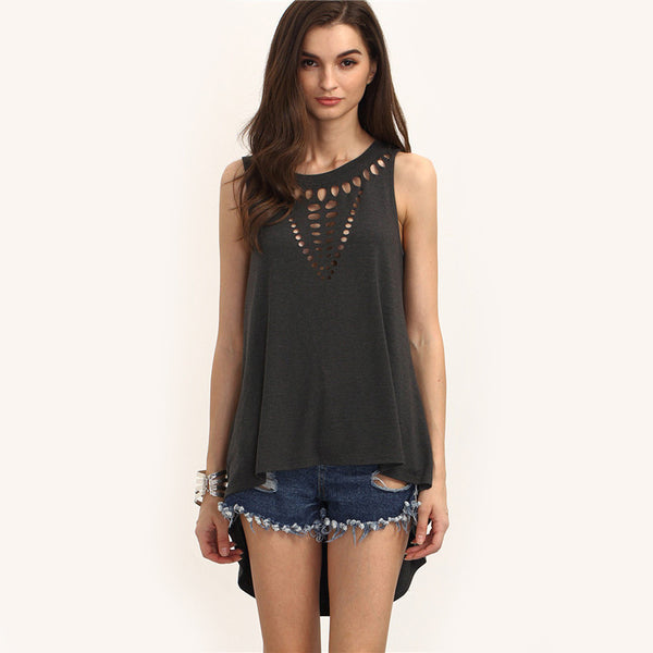 ♡ Black Round Neck Sleeveless Hollow Out High Low Casual Blouse ♡