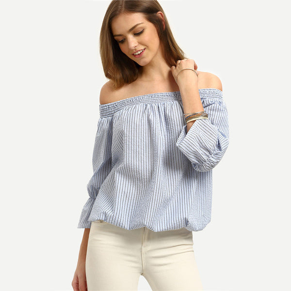 ♡ Striped Three Quarter Length Sleeve Off The Shoulder Bow Tie  Blouse ♡