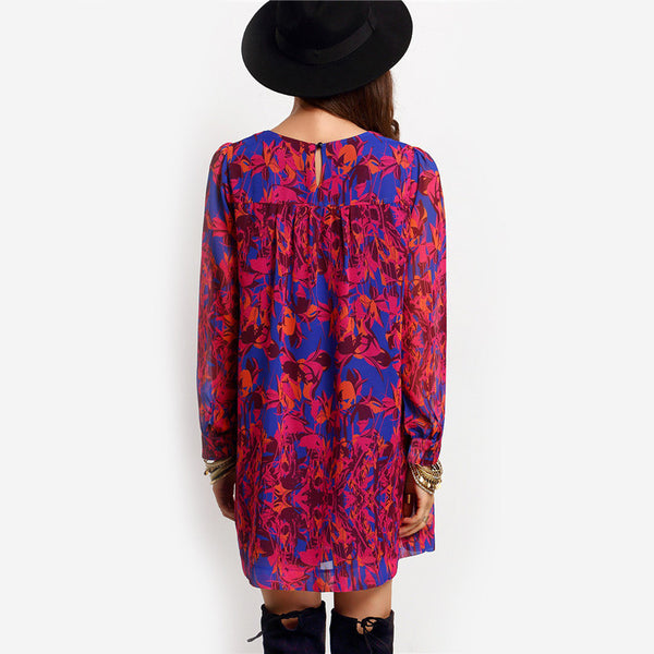 ♡ Vintage Casual Multicolor Long Sleeve Print Dress ♡