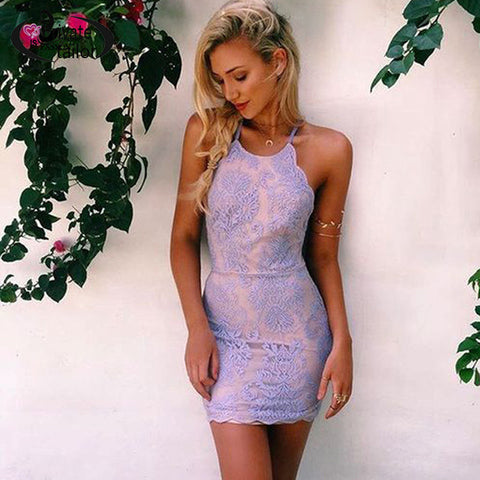 Women Sexy Halter Embroidery Stunning Backless Lace Dress