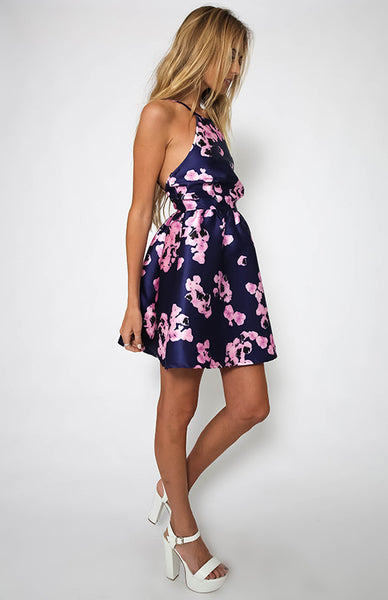 ✿ Summer Print Sleeveless Backless Mini Halter Dress ✿