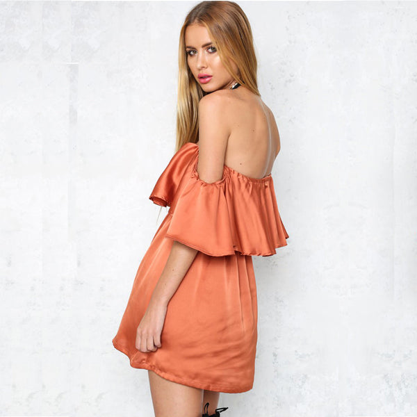 ☆ Ruffles Orange Satin Dress ☆