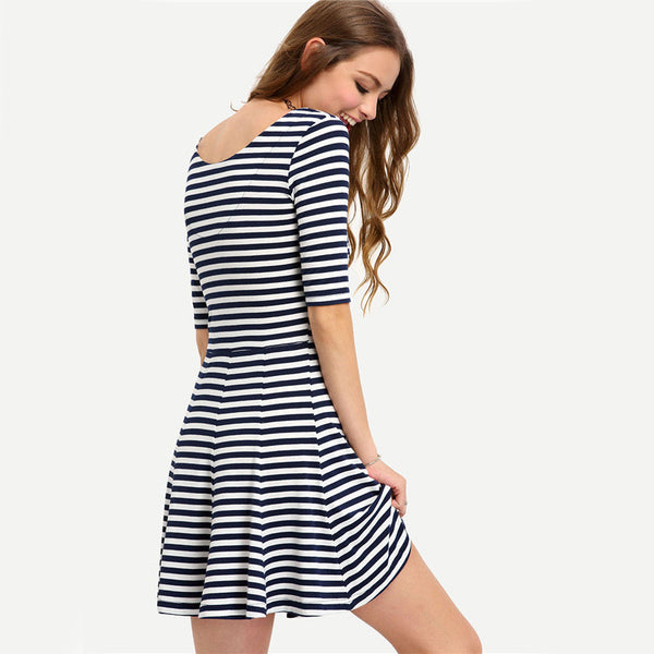 ☆ Black and White Striped Half Sleeve Short Fit and Flare Dress☆